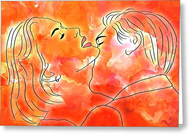 Burning Desire - Sensual Kiss Portrait Greeting Card by Rayanda Arts