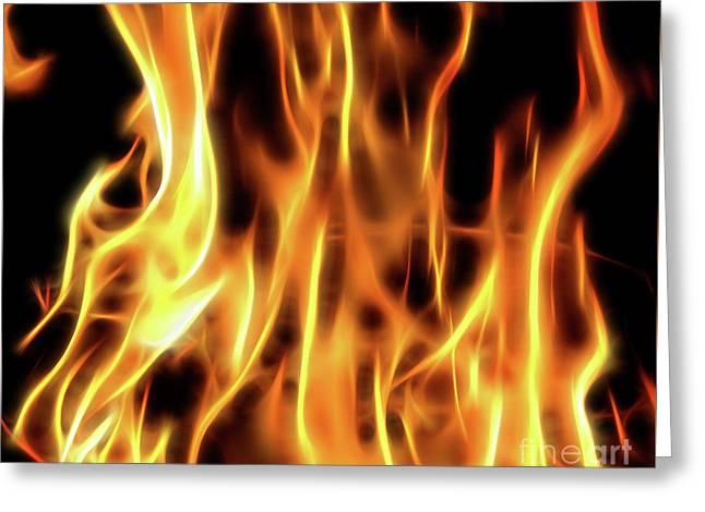 Burning Flames Fractal Greeting Card