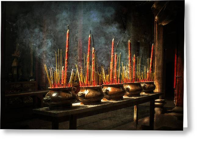 Burning Incense Greeting Card