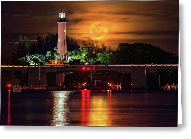 Greeting Card featuring the photograph Burning Moon Rising Over Jupiter Lighthouse by Justin Kelefas