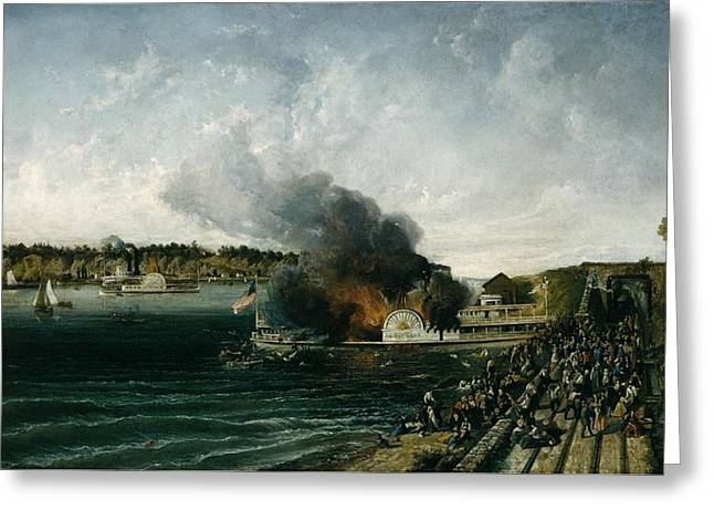Burning Of The Sidewheeler Henry Clay Greeting Card by Ca 185460