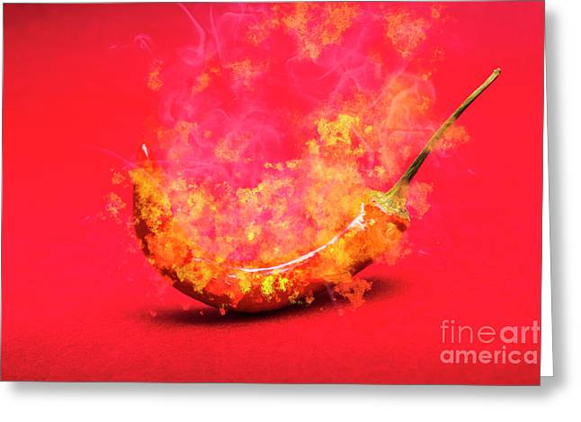 Burning Red Hot Chili Pepper. Mexican Food Greeting Card
