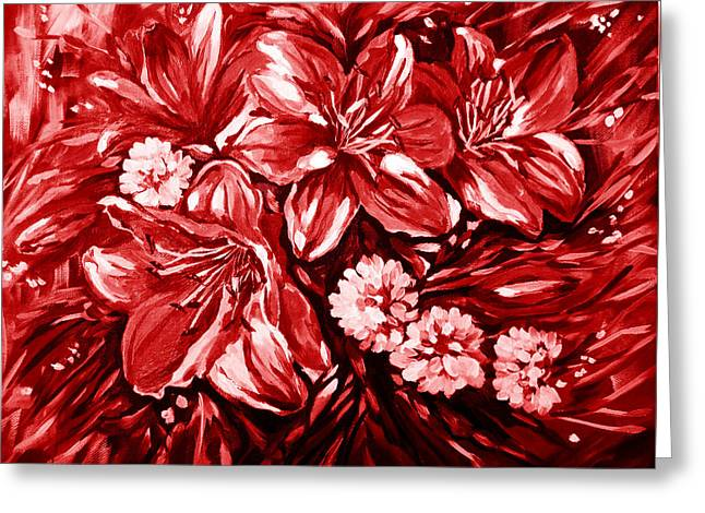 Burning Red Greeting Card by Katreen Queen