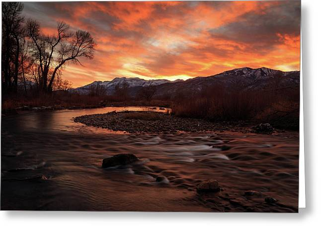 Greeting Card featuring the photograph Burning Sunset Above The Provo River. by Johnny Adolphson