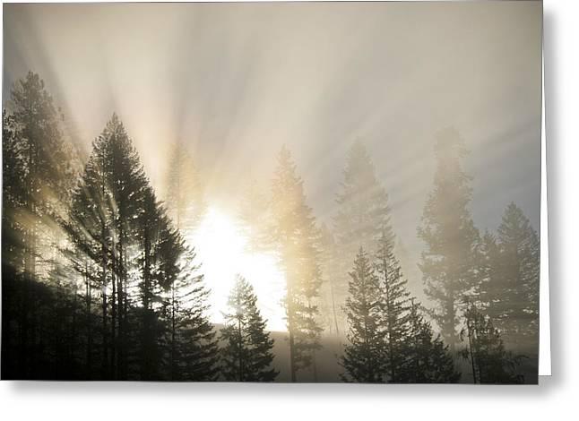 Burning Through The Fog Greeting Card
