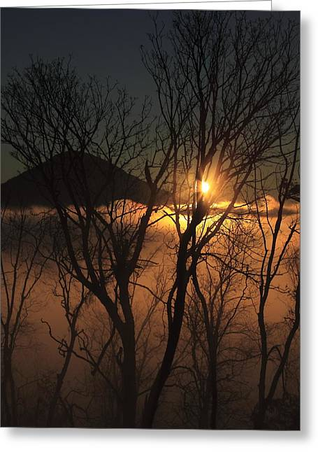 Burning Through The Fog Greeting Card by Naman Imagery