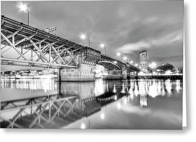 Burnside Bridge Portland Oregon At Night Greeting Card by Dustin K Ryan