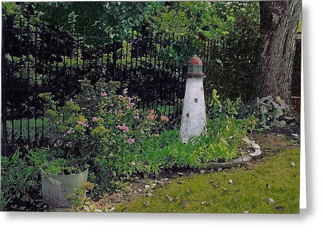 Burnside Garden Lighthouse Greeting Card by Cedric Hampton