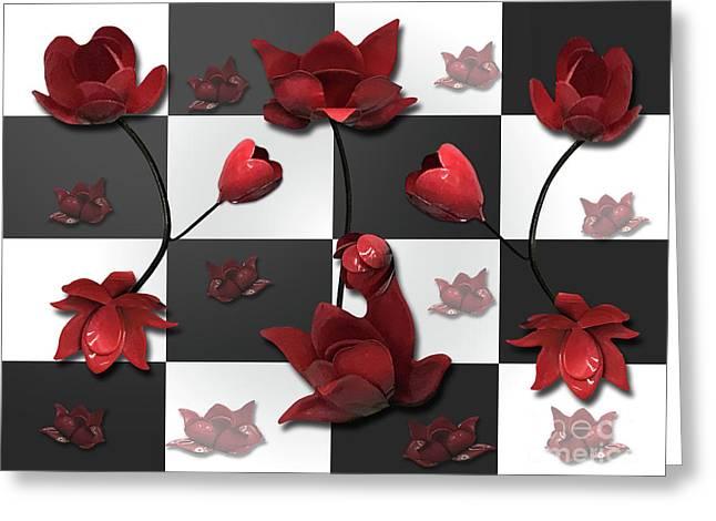 Burnt Crimson Flora Greeting Card