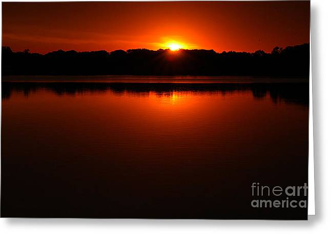 Burnt Orange Sunset On Water Greeting Card