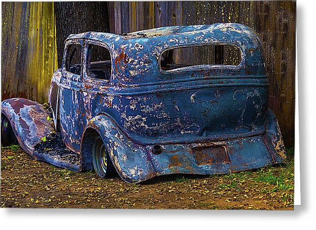 Burnt Out Classic Car Greeting Card