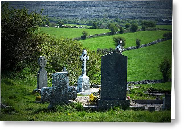 Headstones Greeting Cards - Burren Crosses County Clare Ireland Greeting Card by Teresa Mucha
