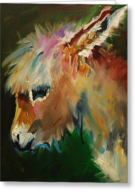 Burro Donkey Greeting Card by Diane Whitehead