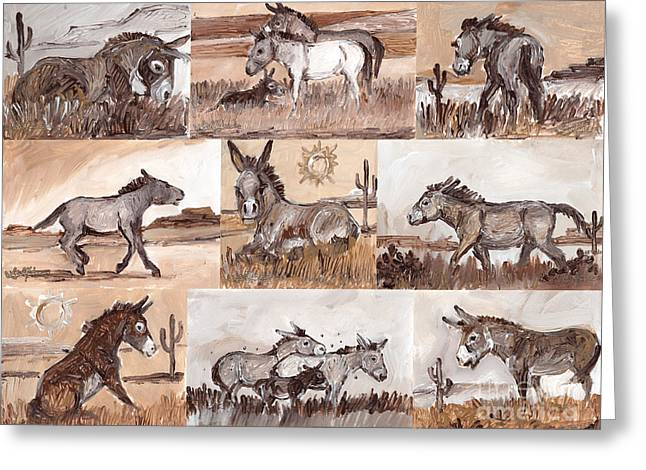 Burros Of The South West Sampler Greeting Card
