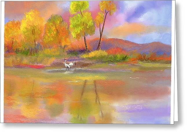 Greeting Card featuring the painting Burst Of Autumn by Sena Wilson