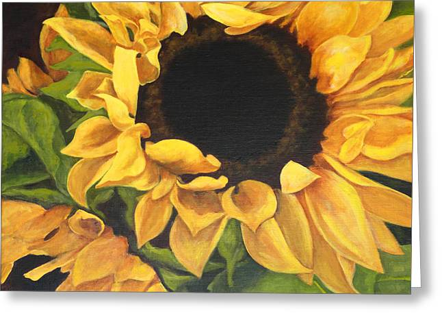 Greeting Card featuring the painting Burst Of Sunflowers by Sandra Nardone