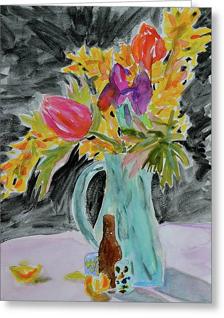 Greeting Card featuring the painting Bursting Bouquet by Beverley Harper Tinsley
