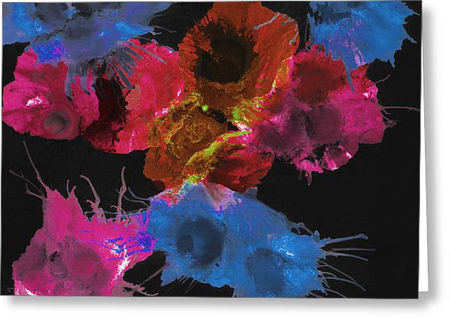 Bursting Comets 2017 - Blue And Pink On Black Greeting Card