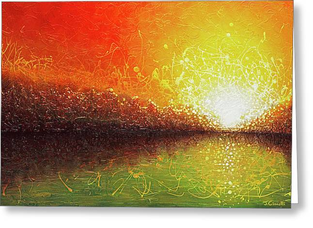 Greeting Card featuring the painting Bursting Sun by Jaison Cianelli