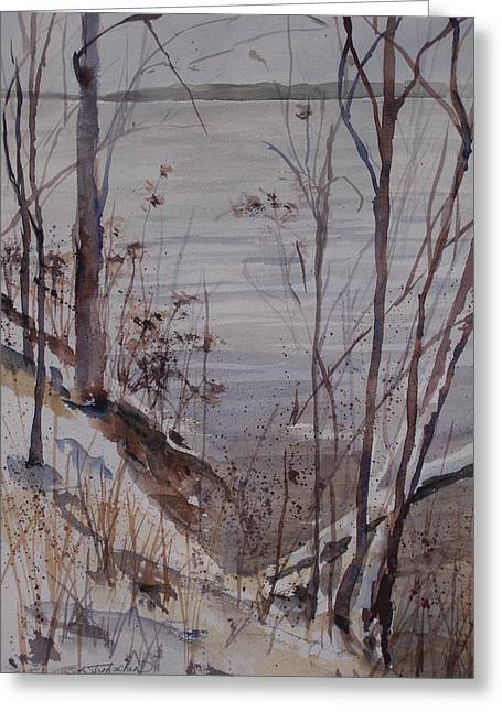 Greeting Card featuring the painting Burt Lake In Winter by Sandra Strohschein