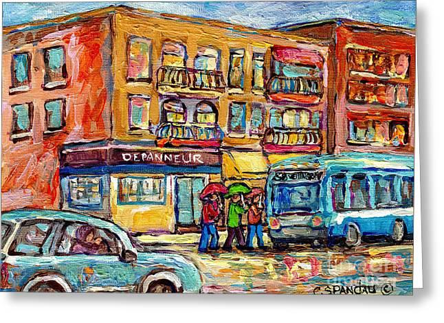 Bus Stop Depanneur Arret 58 Wellington Bus Cornerstore Rainy Day Verdun Montreal Painting C Spandau  Greeting Card