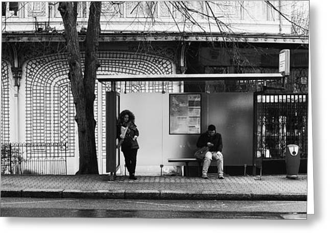 Bus Stop Greeting Card by Hugh Smith