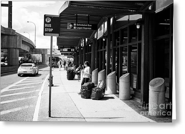 bus stop outside Boston Logan international airport exterior USA Greeting Card