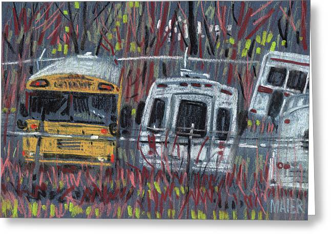 Bus Yard Greeting Card by Donald Maier