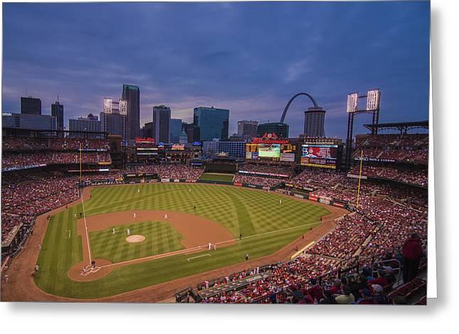 Busch Stadium St. Louis Cardinals Ball Park Village Twilight #3c Greeting Card by David Haskett