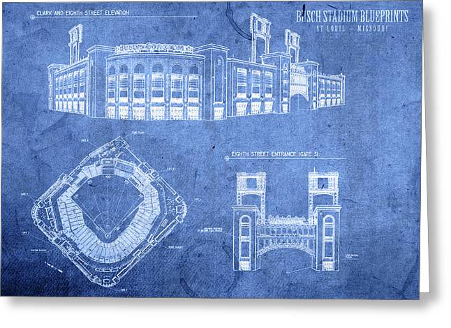 Busch Stadium St Louis Cardinals Baseball Field Blueprints Greeting Card