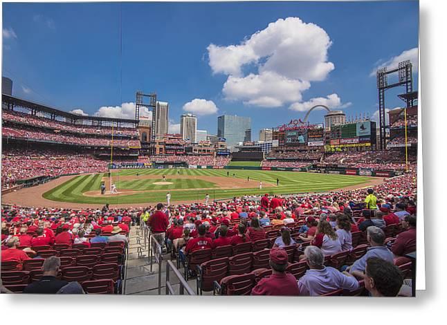 Busch Stadium St. Louis Cardinals Cardinal Nation Ballpark Village Day #2a Greeting Card by David Haskett
