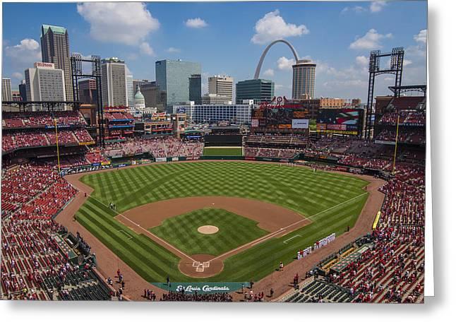 Busch Stadium T. Louis Cardinals Ball Park Village National Anthem #3a Greeting Card by David Haskett