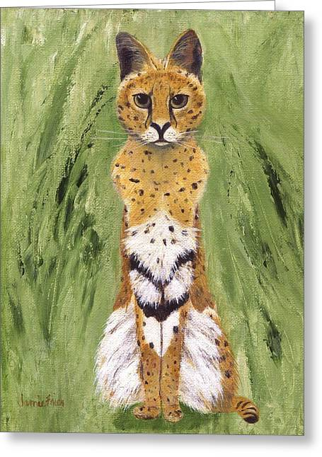 Greeting Card featuring the painting Bush Cat by Jamie Frier