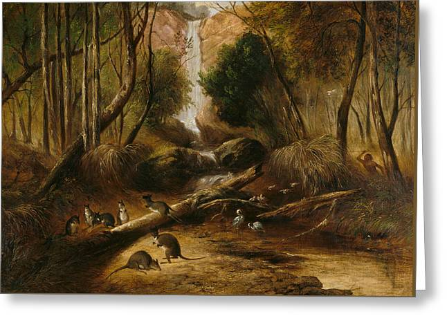 Bush Landscape With Waterfall And An Aborigine Stalking Native Animals, New South Wales Greeting Card