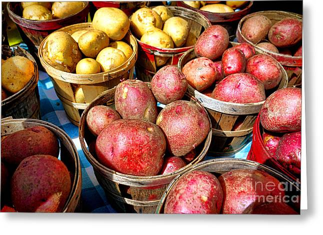 Bushels Of Potatoes At A Farm Market Greeting Card by Olivier Le Queinec