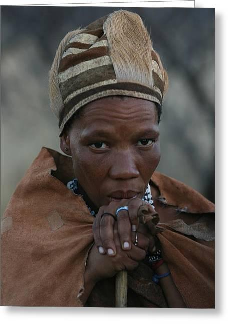 Bushmen Woman Greeting Card by Miranda  Miranda