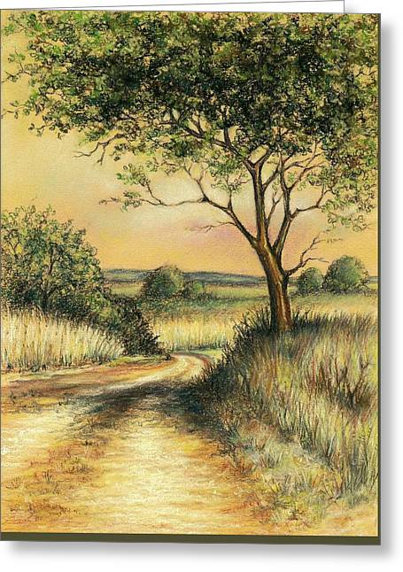 Greeting Card featuring the drawing Bushveld by Heidi Kriel