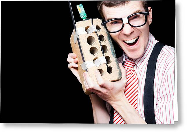 Business Geek Laughing On House Brick Phone Greeting Card by Jorgo Photography - Wall Art Gallery