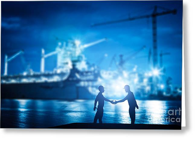 Business Handshake In Shipyard, Shipbuilding Company Greeting Card