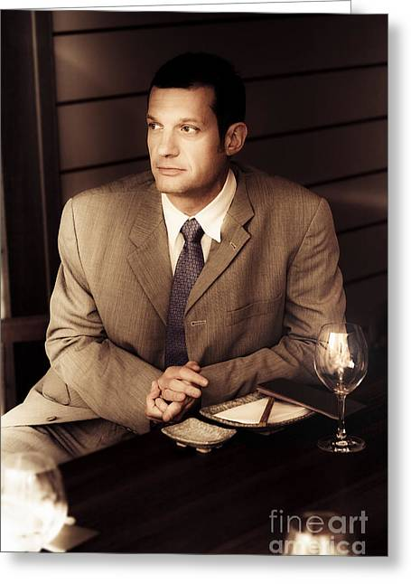 Business Man At Corporate Function Greeting Card by Jorgo Photography - Wall Art Gallery