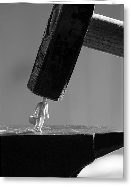 Business Man Between Hammer And Anvil Greeting Card by Ulrich Kunst And Bettina Scheidulin