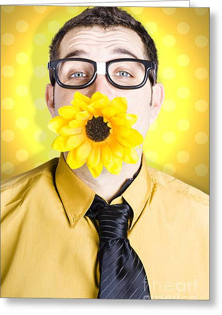 Business Man Celebrating Summer With Sun Flower Greeting Card by Jorgo Photography - Wall Art Gallery