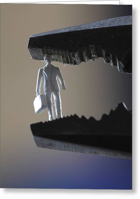 Business Man Clamped In Pliers Greeting Card by Ulrich Kunst And Bettina Scheidulin