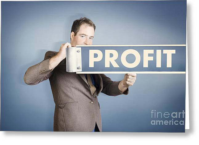 Business Man Holding Financial Profit Street Sign Greeting Card