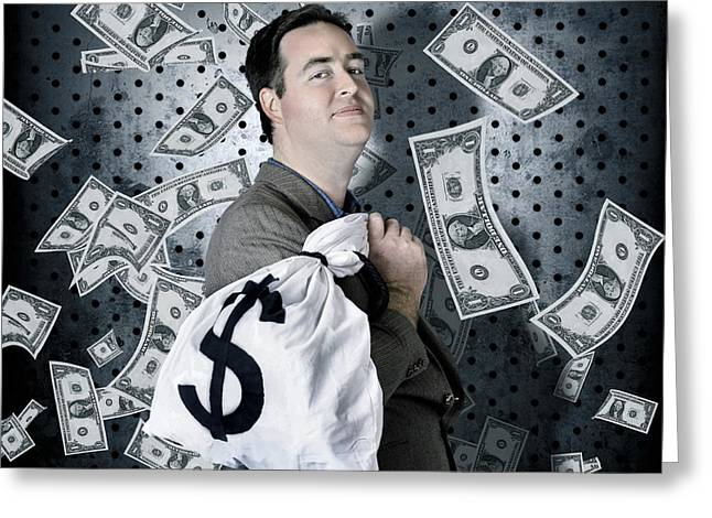 Business Man In Bank Vault With Finance Money Bag Greeting Card by Jorgo Photography - Wall Art Gallery