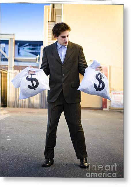 Business Man Looking For Financial Planning Help Greeting Card