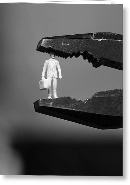 Business Man Under Pressure In Pliers - Monochrome Greeting Card by Ulrich Kunst And Bettina Scheidulin