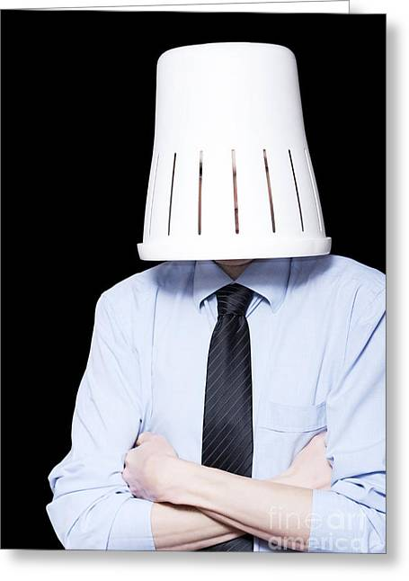 Business Person Under Stress Wearing Paper Bin Greeting Card