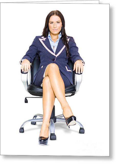 Business Woman On Office Chair At Job Interview Greeting Card