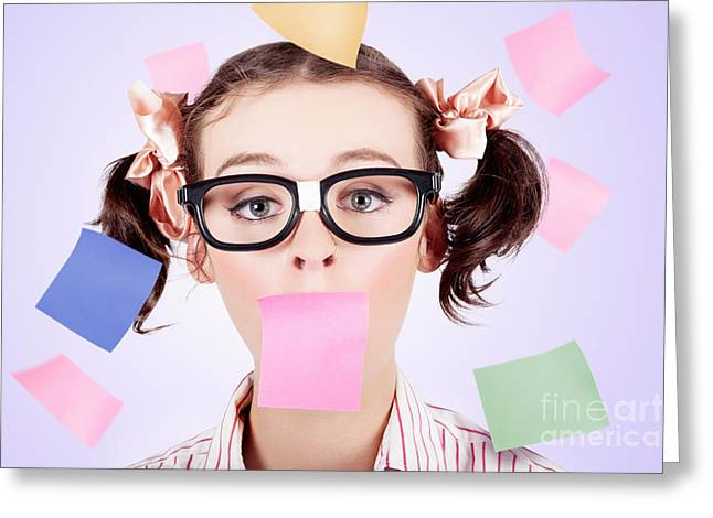 Business Womans Face Covered In Paper Reminders Greeting Card by Jorgo Photography - Wall Art Gallery